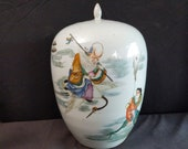 Antique Famille Rose Chinese Ginger Jar with calligraphy 12.5 quot tall late Qing to early Republic