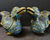 c1890 Antique Chinese Cloisonne Duck Form Censers incense Burners 12 quot long x 7.5 quot tall Matched Pair
