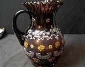 Antique Amethyst Enameled Water Pitcher Art Glass c.1900 Fenton or Northwood