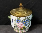 Antique Bronze Mounted French Faience Inkwell Hand Painted Flowers 19th Century tin glazed earthenware