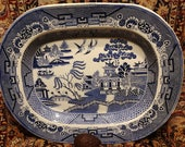 Colossal Antique Blue Willow Platter Early to mid 19th century 20 quot x 16 quot Marked Staffordshire Blue Transferware