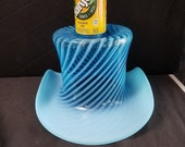Fenton Blue Spiral Optic Opalescent Swirl Top Hat in Rare Jumbo Size 11 7 8 quot wide x 7 quot tall c.1940