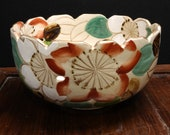 Meiji Period Satsuma Reticulated Bowl with Painted Flowers c.1880