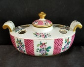 Samson Paris French Porcelain Inkwell Hand Painted Gilt Boat Shaped c.1900