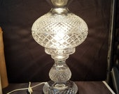 Waterford Alana Lamp with Huge Hurricane Shade 19 quot tall x 10.5 quot wide. BIG heavy Lamp Two piece