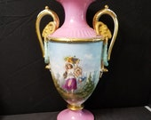 Old Paris Porcelain Sevres Style KPM Meissen NICE 18th-19th century 16.5 quot Heavy Gold Rams Head Handles all Hand Painted Partial Nude -Cherub