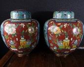 c1930 Chinese Cloisonne Ginger Jars with Imari Style Decoration