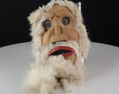 Vintage Eskimo Mask Carved Wood and Fur Artist Signed