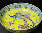 c1900 Japanese Kutani Bowl Bird of Paradise on yellow ground 7 3 8 quot x 2.75 quot