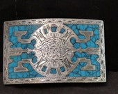 Mexican Sterling Turquoise Chip inlay Belt Buckle for 2 quot belt