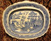 Extremely Rare and Unusual Circa 1836-1849 Marked Pountney Goldney Bristol Scalloped Antique Blue Willow Platter 17.75 quot x 14.75 quot