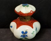 Antique Porcelain Inkwell Hand Painted Blue Flowers 19th Century