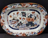 c.1830 Minton Amherst Japan Stone China Chinoisiere Imari style Platter 12 5 8 quot x 9 3 16 quot (multiple available)