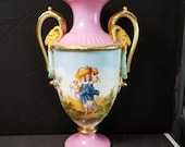 Old Paris Porcelain Sevres Style 18th-19th century 16.5 quot Heavy Gold Rams Head Handles all Hand Painted Partial Nude -Cherub