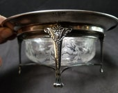 c1910 Hawkes Sterling Silver Holder with Cut Glass Finger Bowl