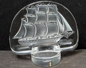 Lalique Intanglio Clipper Ship Paperweight