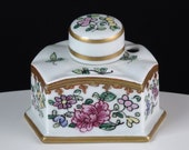 Vintage French Limoges Inkwell Hand Painted with gold Gilding