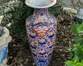 c1870 24 quot Imari Temple Floor Vase 24.25 quot x 10 quot wide Meiji Period Japanese Porcelain