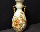 Art Nouveau Royal Rudolstadt embossed Porcelain Hand Painted Floral Vase Gold Handles and Trim 8 quot c.1900