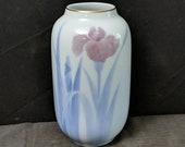 Fukagawa Seiji Arita Vase Iris Japanese Porcelain circa mid 20th century