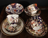19th c British Imari Spode Derby Davenport Various Patterns Cups and Saucers