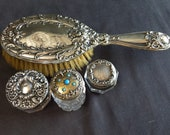 C.1890 Sterling Silver Vanity Items Lot Jeweled Perfume Brush Jars