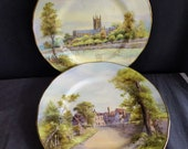 c1935 Royal Worcester Artist Signed Service Plates Tewkesbury Worcester Cathedral 10 7 8 quot
