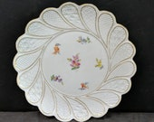 c1890 Antique Meissen Charger Embossed Hand Painted Florals 11 1 8 quot