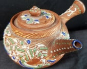 Antique Small Japanese Teapot Red Clay Moriage Satsuma Decoration Marbelized unusual c.1900