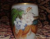Moser Coralene Bohemian Glass Hand Enameled cordial Mug late 19th century