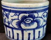 Antique Chinese Brush Pot Blue and White Hand Decorated 19th century Qing