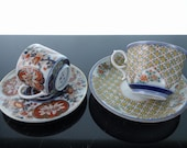 2 Antique Japanese Imari Cups and Saucers