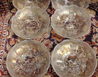 3 c1940 White Carnival Glass Rose Buttons
