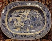 Antique Blue Willow Staffordshire Platter 15 7 8 quot x 12 5 8 quot Marked Circa Early to mid 19th Century