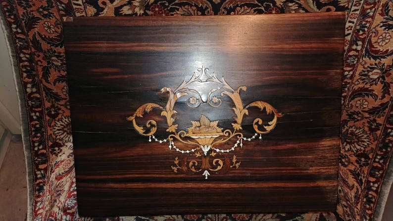 Presentation lap Desk To Branch 13th Jan 1891 Intricate inlay School Teachers and Monitors of Collins I Annie McKellar  By Barony F.C
