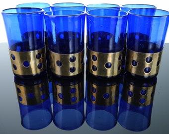 MCM Brass Imrisoned Glass Felipe Derflingher Cobalt Blue tumbler set Mid Century Modern