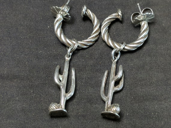 Southwestern Sterling Saguaro Cactus Earrings