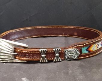 "Navajo Sterling Belt buckle set on Beaded Belt.  24""-27"""