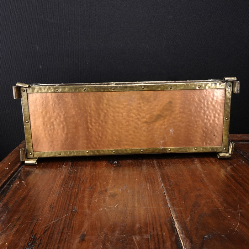 c1900 Arts and Crafts Hammered Copper and Brass Glove Box