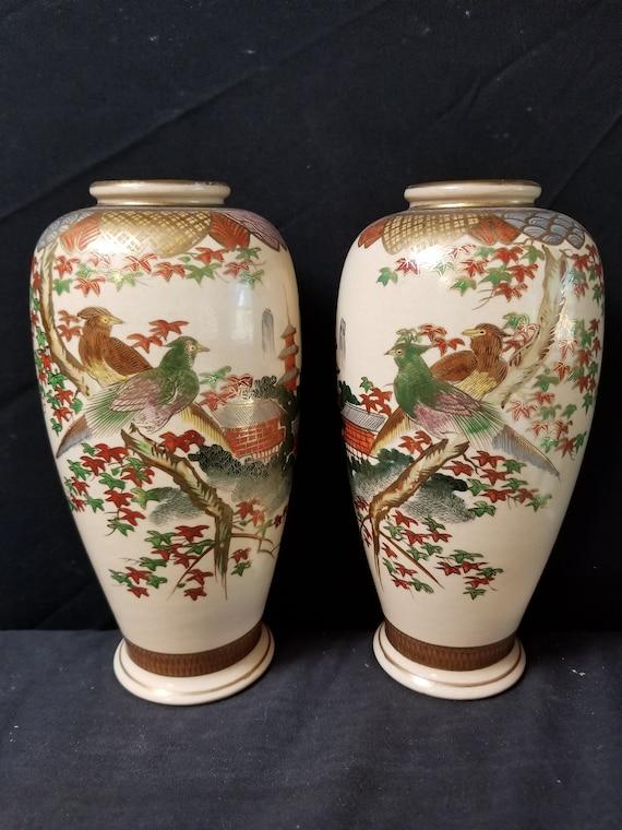 Meiji Period Signed Satsuma Japanese Vases Pair Hand Decorated Etsy