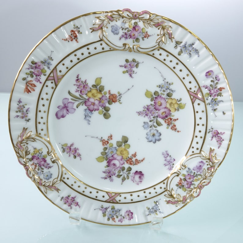 19th century Dresden Embossed Cabinet plate hand painted