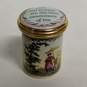 Halcyon Days Friendship/'s the Wine of Life Tall Enamel Trinket Box