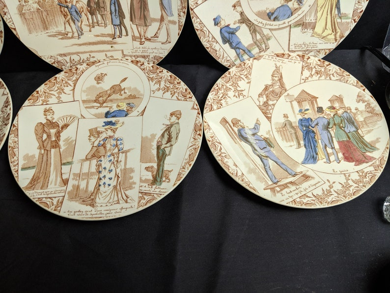 8 Sarreguemines Courses Digoin Plates with Horse Racing Track Scenes .