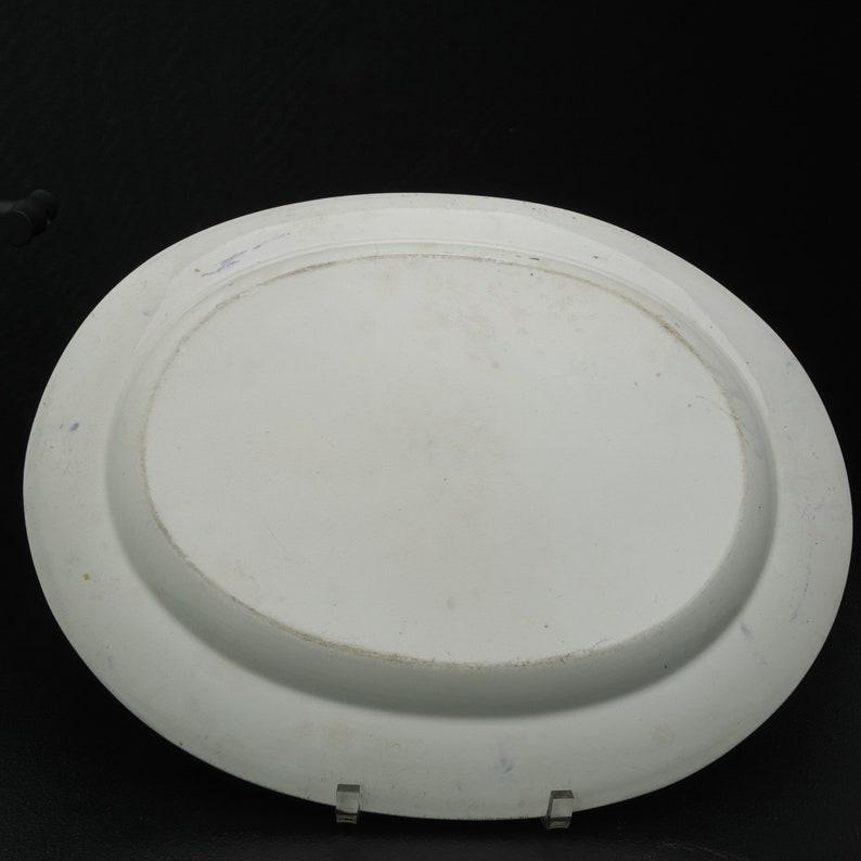 19.5 c1850 Chinoisiere Blue Transferware Platter Staffordshire