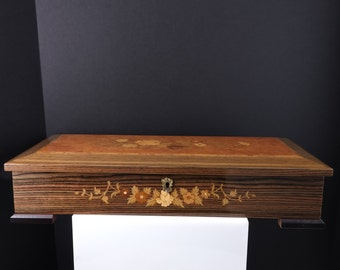 "17"" Thorens Swiss Musical Jewelry Box in Sorrento Italian Marquetry Case"