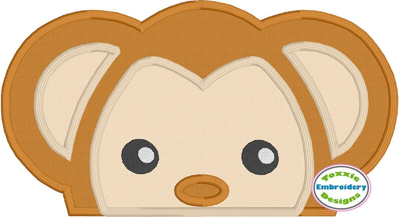 Monkey Peeker Applique image 0