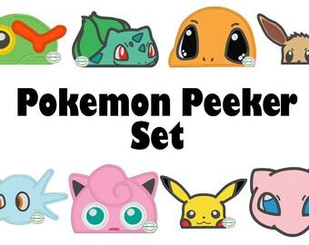 Pocket Monster Peeker Set - Machine Embroidery Applique