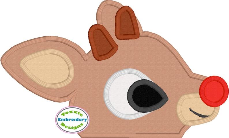 Red Nose Reindeer Peeker Appliqué Embroidery Design image 0