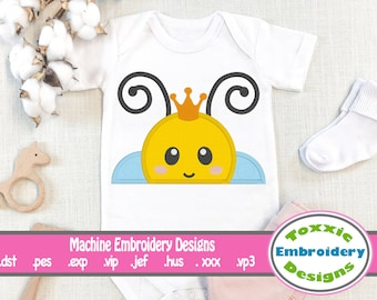 Queen Bee, peeker, hooded towel machine embroidery design, 4x4 and 5x7 hoop, brother, janome, honey bee, bumble bee