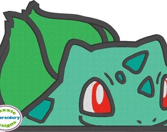 Grass Pocket Monster Peeker - Machine Embroidery Applique Design 5x7
